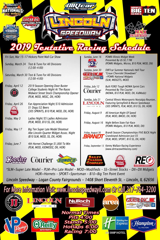 Decatur Il Mall >> 2019 Schedule – Lincoln Speedway